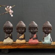 1 PCS Small Buddha statue monk figurine tathagata India Yoga Mandala tea pet purple ceramic crafts decorative ornaments K020
