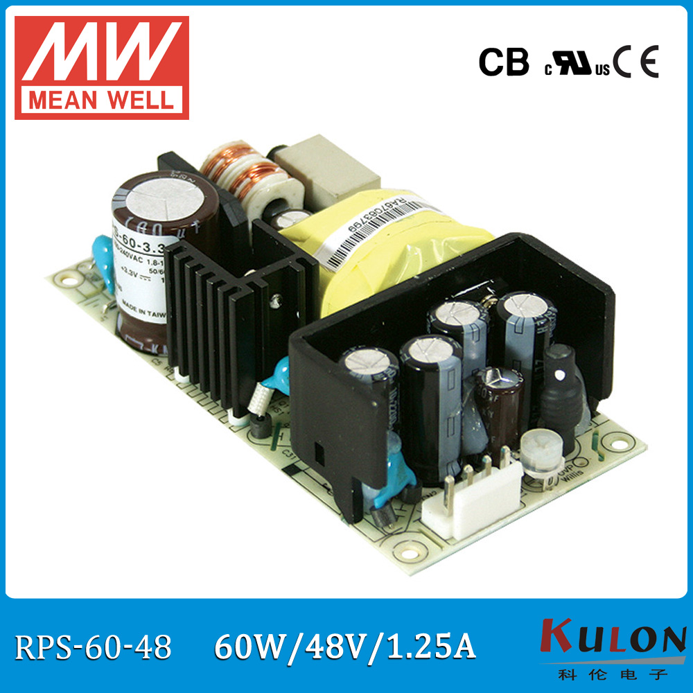 Original Meanwell RPS-60-48 single output 60W 48V 1.25A MEAN WELL medical type power supply RPS-60 original meanwell rps 160 12 single output 160w 12v 12 9a mean well medical open frame type power supply rps 160 pcb type