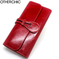 OTHERCHIC Wallet Women Leather Wallet Card Holder Genuine Oil Wax Leather Wallets Women Female Wallets Coin Purse 17Y03 14