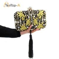 Best Sale Diamond Tassel Embroidered Evening Bag Women's Pearl Embroidered Fringed Beaded Banquet Bag Clutch Purse Shoulder Bag