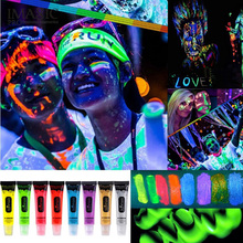 1 Tube Neon Fluorescent/ Glow In The Dark Body Paint – 13ml – 8 Colours Avaliable