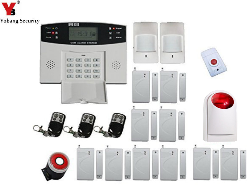 YobangSecurity Cheap LCD Display Voice Prompt GSM Wireless Burglar Alarm System Security Home with Strobe Siren Panic Button yobangsecurity home gsm pstn alarm system 433mhz voice prompt lcd keyboard wireless alarma gsm with outdoor siren flash