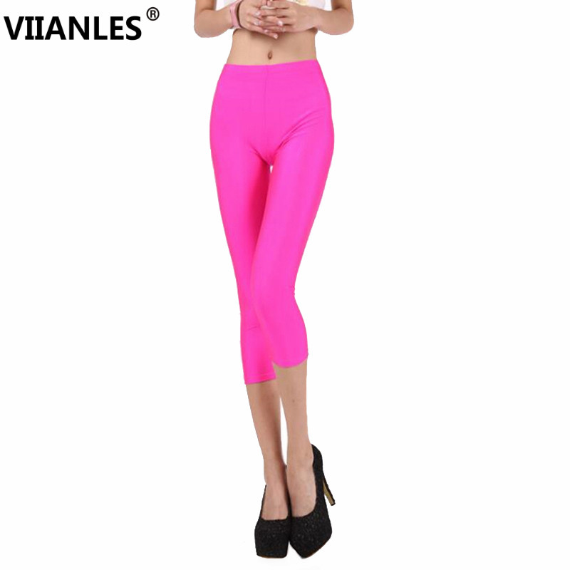 VIIANLES Women Summer Leggings Solid Leggins Neon High Stretched Short Jeggings Fitness Cropped Candy pants