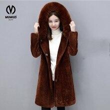 Newest Velour Coat Hooded Winter Jacket Women Korean Style Mid Long Velvet Parka Thicken Slim Warm