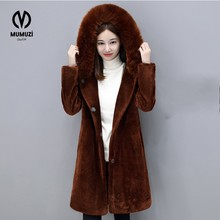 Newest Velour Coat Hooded Winter Jacket Women Korean Style Mid Long Velvet Parka Thicken Slim Warm Outwear Ladies Fashion Parkas