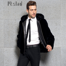 Ptslan 2016 Men's Sheep fur Jacket Zipper Closure Jacket Wool Coat