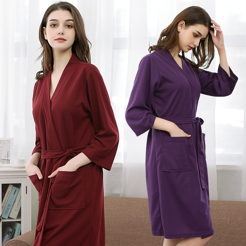 5fa7f50cb4 Detail Feedback Questions about Women Men Suck Water Waffle Kimono Bath  Robe Peignoir Femme Summer Bathrobe Bride Bridesmaid Robes Sexy Dressing  Gown ...