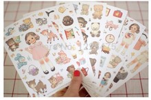 New doll mate paper sticker / Decoration note label/ 6pcs/set Multifunction Super gift