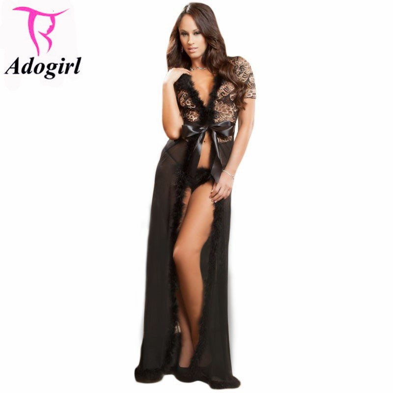New 2016 Women Sexy Lingerie Hot Exotic Apparel New Sexy Sleepwear Sensual Lace Fur Trim Glam