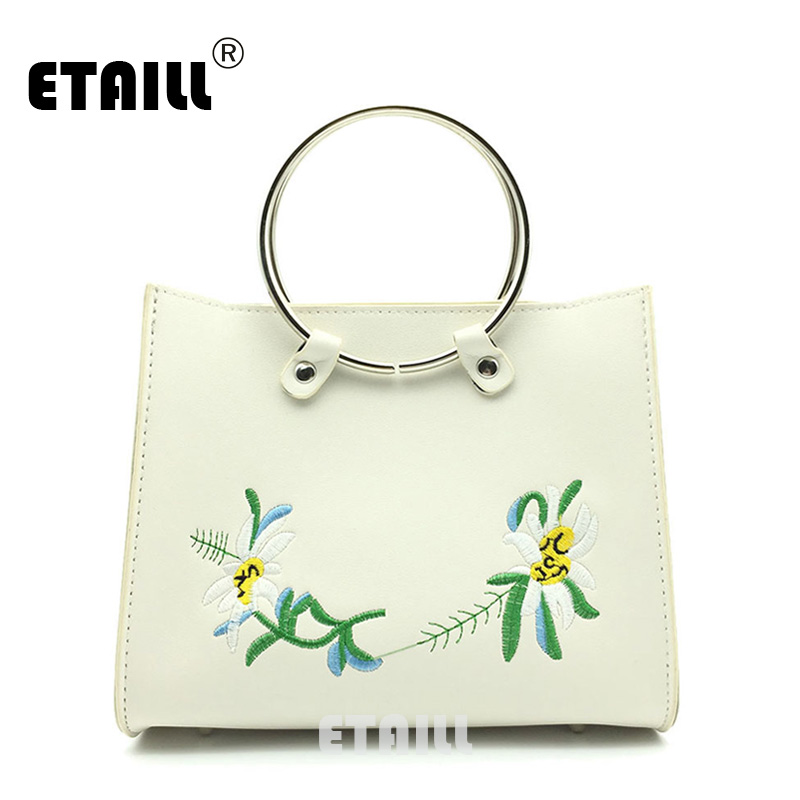 ETAILL Floral Embroidered Totes with Circular Handle Female High Quality PU font b Leather b font