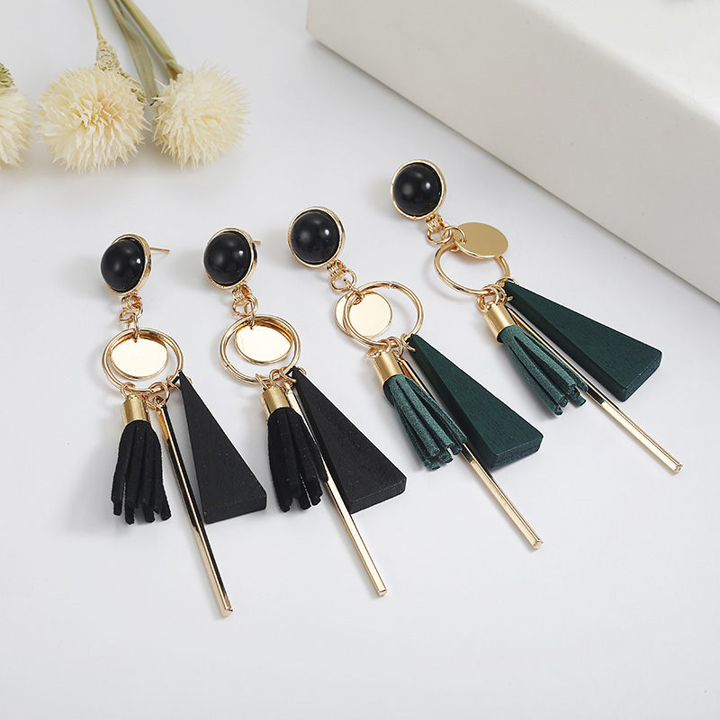 Personality Fashion triangle geometric wood earrings Retro female tassel long women earrings Jewelry 2
