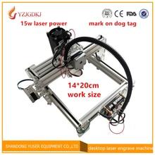 14*20 cm arbeitsbereich 15 watt diy mini laser gravieren maschine marke auf metall laser cutter unterstützung englisch software markierung auf hund tag