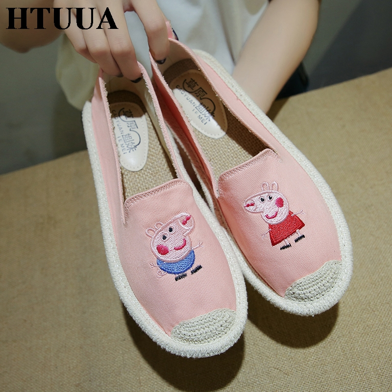 HTUUA 2018 New Cartoon Embroidery Canvas Shoes Women Loafer Casual Flat Shoes Female Slip on Lazy shoe Espadrilles Flats SX1326 e lov new arrival luminous canvas shoes graffiti pisces horoscope couples casual shoes espadrilles women
