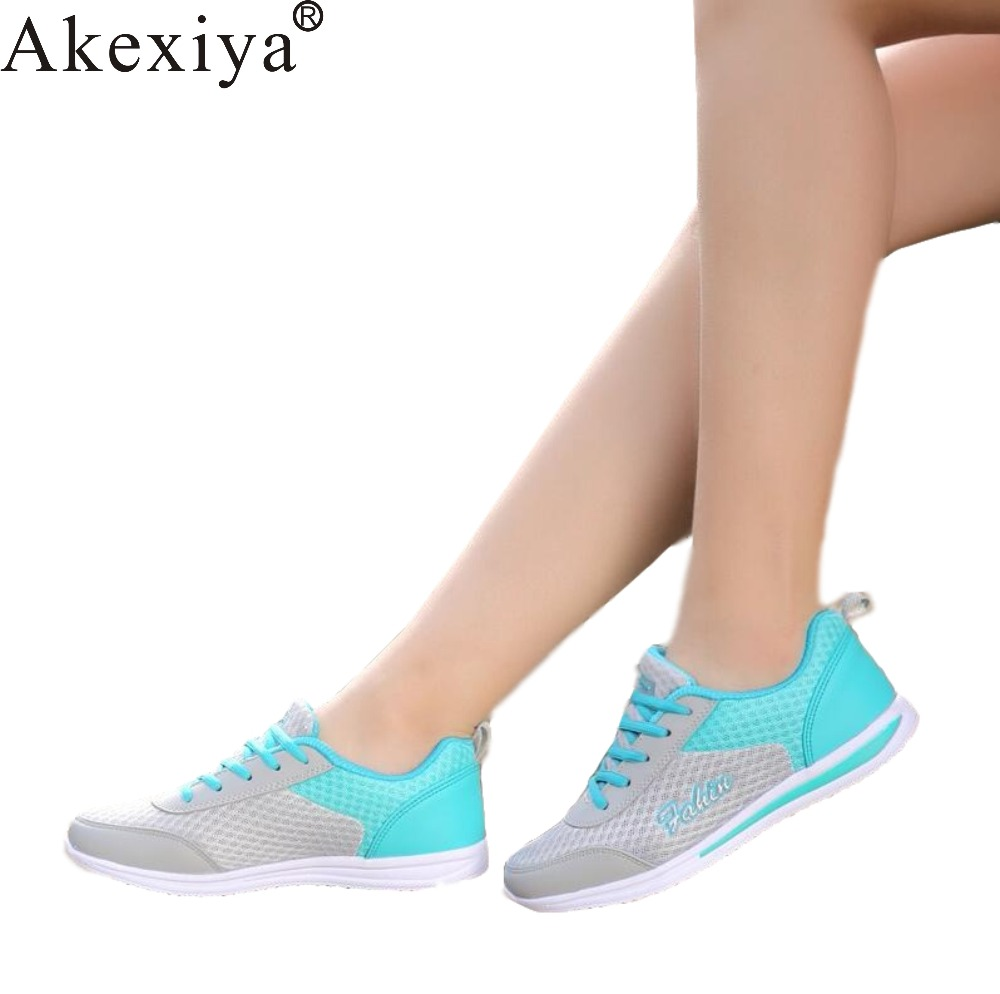Akexiya 2019 Spring Summer Women Sneakers Breathable Mesh Running Shoes Flats Ladies Slip on Flats Walking Shoes Plus Size 41 42