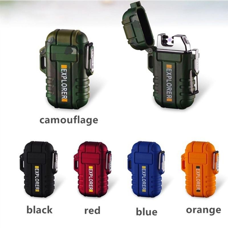 Wasserdicht Zigarette Leichter Dual Arc Plasma USB Leichter Outdoor Winddicht Fackel Leichter Camping BBQ Feuer Starter Geschenke für Männer