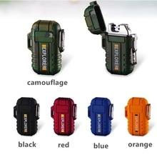 Waterproof Cigarette Lighter Dual Arc Plasma USB Lighter Outdoor Windproof Torch Lighter Camping BBQ