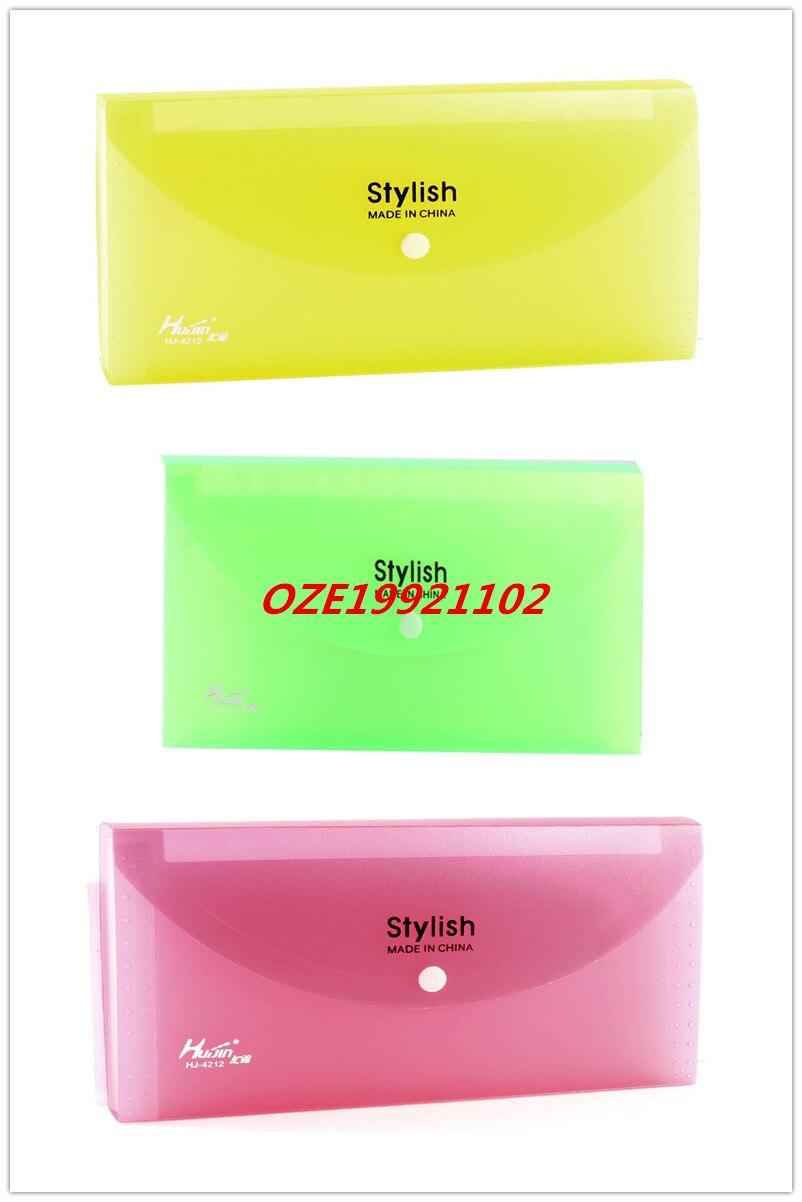 1PCS Clear 13 Pocket Press Stud Yellow Green Red Plastic Receipt Coupon Organizer File Box