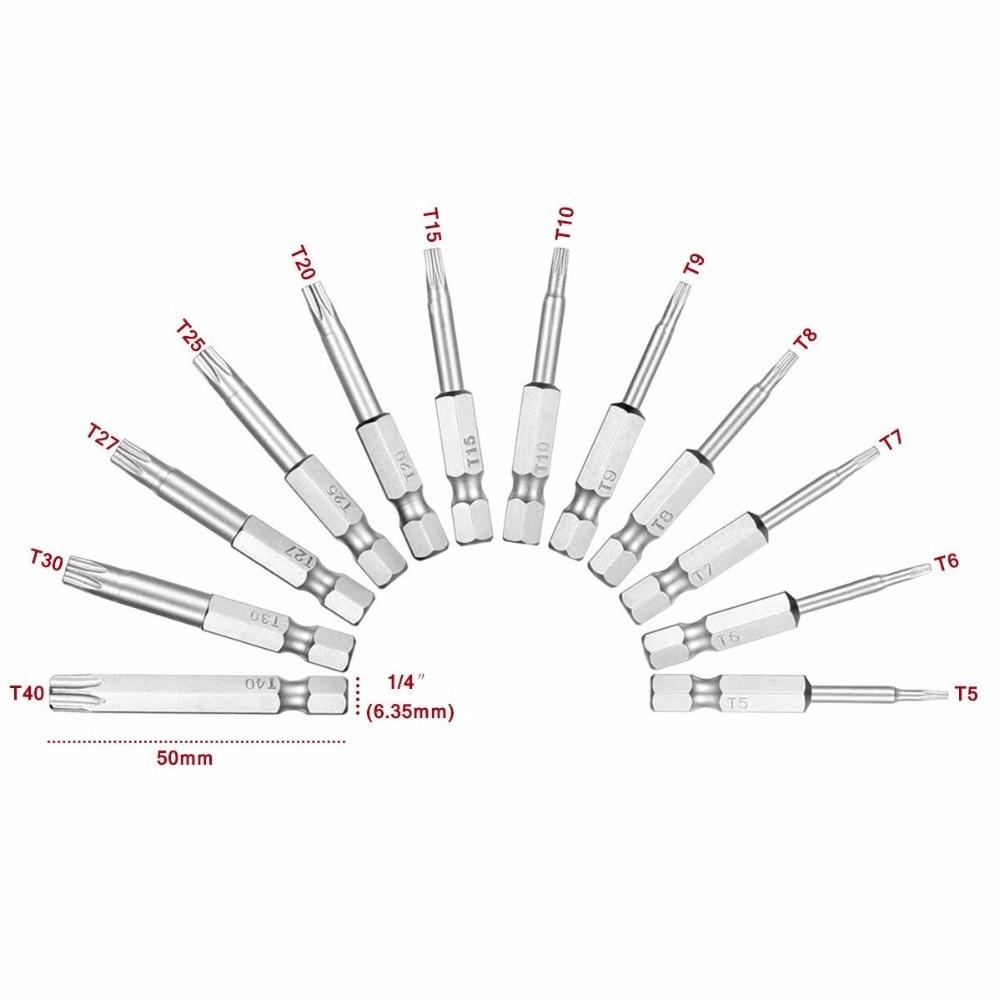 Купить с кэшбэком 12pcs 1/4 Inch 50mm T5-T40 Torx Magnetic Plum Batch Head Screwdriver Bit