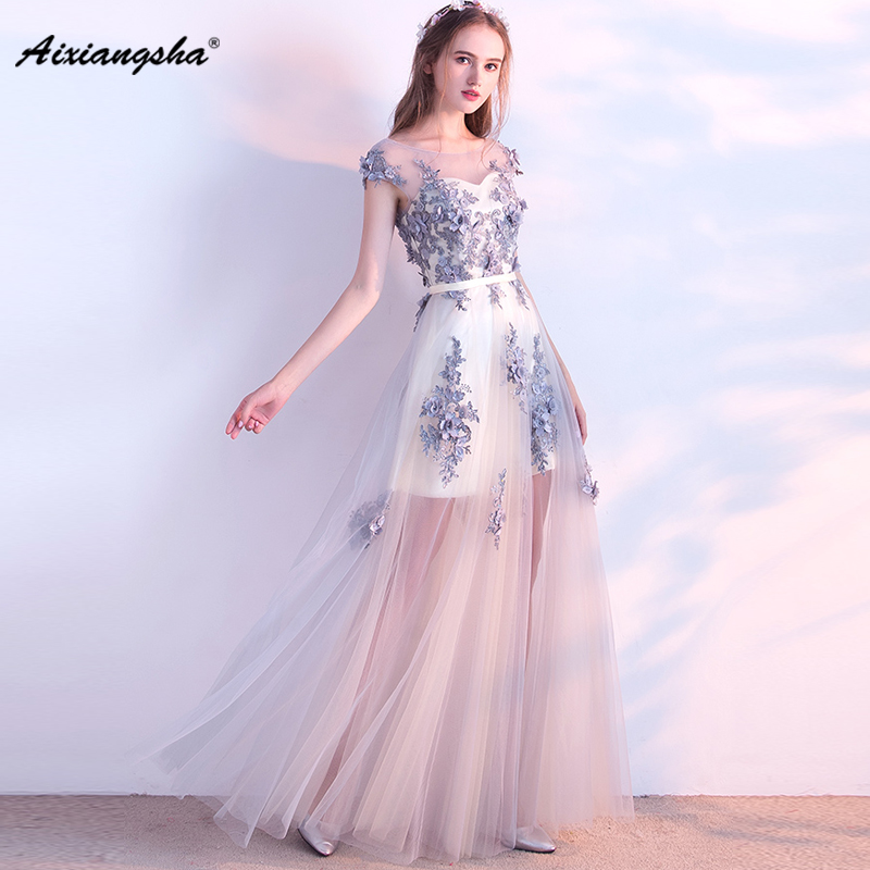 New arrival A-Line Floor-Length Scoop Neck Half Sleeve With Belt Appliques Elegant   Prom     Dresses   Fairy Style Illusion 2018 Tulle