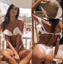 Купить с кэшбэком New 2019 Push Up Bikini Women Swimwear White Swimsuit Solid Bathing Suit Female Beachwear Beach Swim Suit