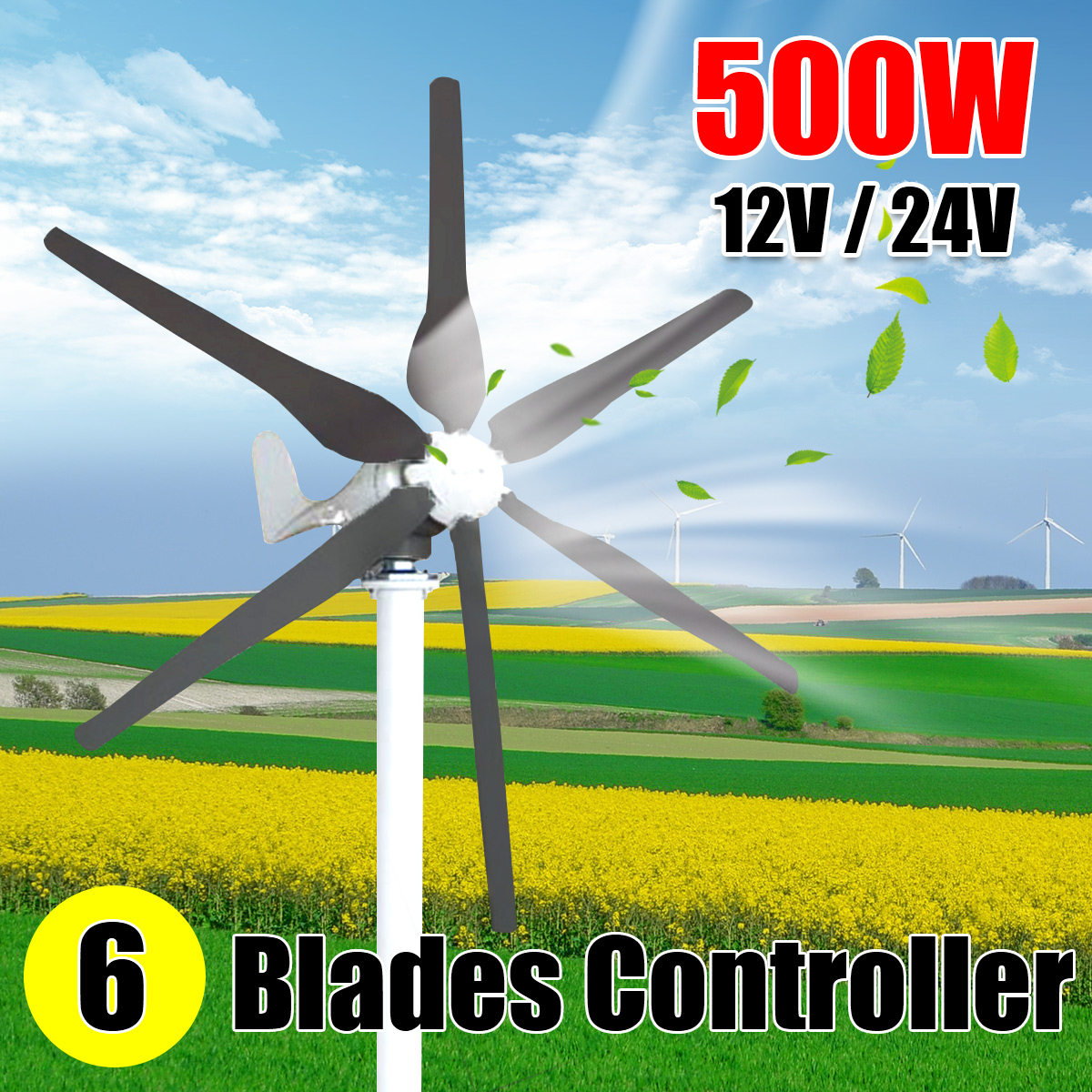 500W 12/24V Wind Turbines Generator 6 Six Wind Blades Windmill Miniature Wind Turbines for Home Camping with Controller цена