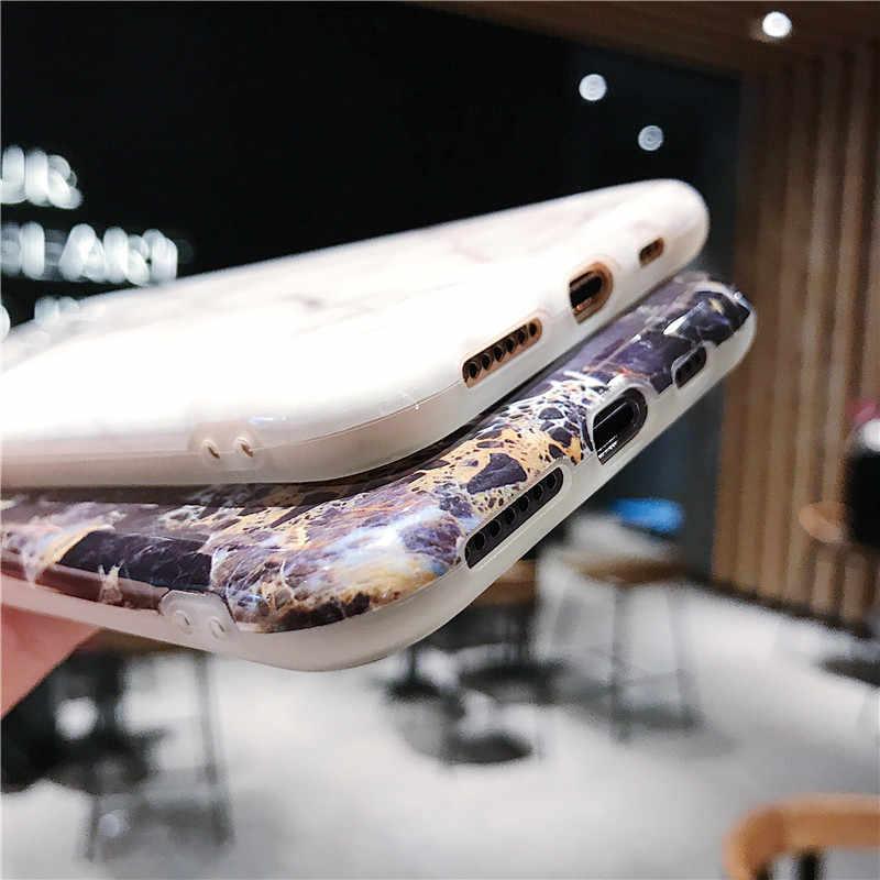 Marbre coque de téléphone Pour iphone 7 Etui Luxe Couverture En Silicone Souple Pour iphone 6 6s 7 8 Plus X iphone XR XS Max Cas Fundas Capa