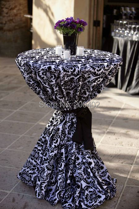 taffeta flocking cocktail table cloth for 70cm DIA tables