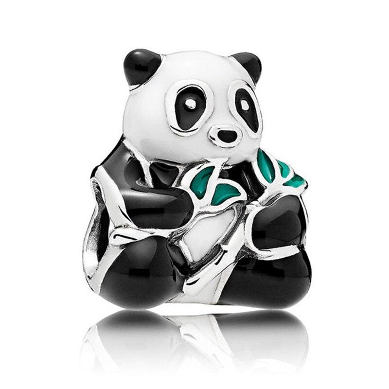 Authentic 925 Sterling Silver Bead Cute Panda Animal Charm Fit Original Pandora Bracelet Bangle Women DIY European Jewelry Gift