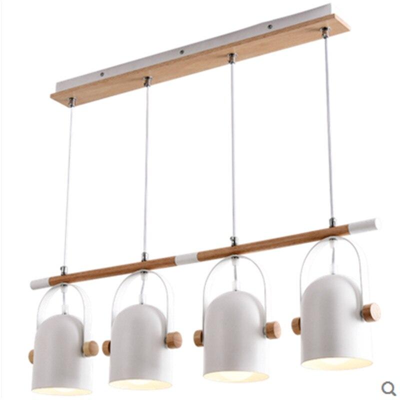 Wood+Iron Nordic Chandelier Pendants Angel Adjustable Suspended Lighting 1/3/4 heads Metal Lampshade for Kitchen Lighting Lustre