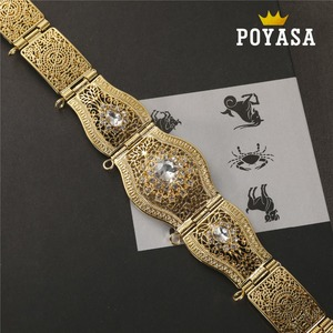 Image 2 - free shippping Moroccan Sun Flower Caftan wedding gold and silver Metal belt for women