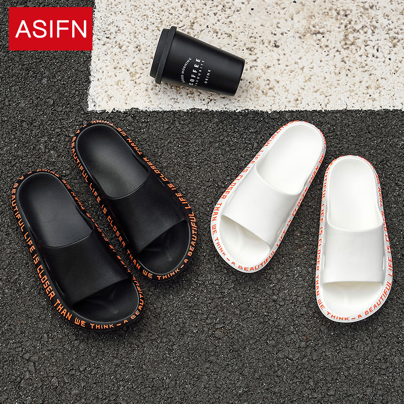 ASIFN Men's Slippers Summer Beach Flip Flops Chanclas Hombre Casual Slides Male Outside Women Home Non-slip Soft Sole Outdoor