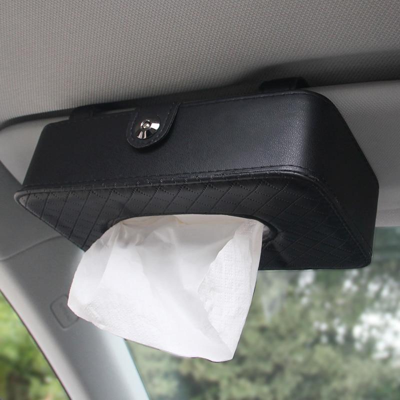 Leather Car Tissue Box Car Sun Visor Type Hanging Rectangle Shaped Tissue Box Container Towel Napkin Tissue Holder Paper Rack