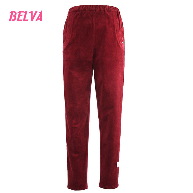 Belva Maternity Red Corduroy Pants Embroidery care abdominal pants Plus Size Tall Bootcut Stretch clothes for pregnant woman 547