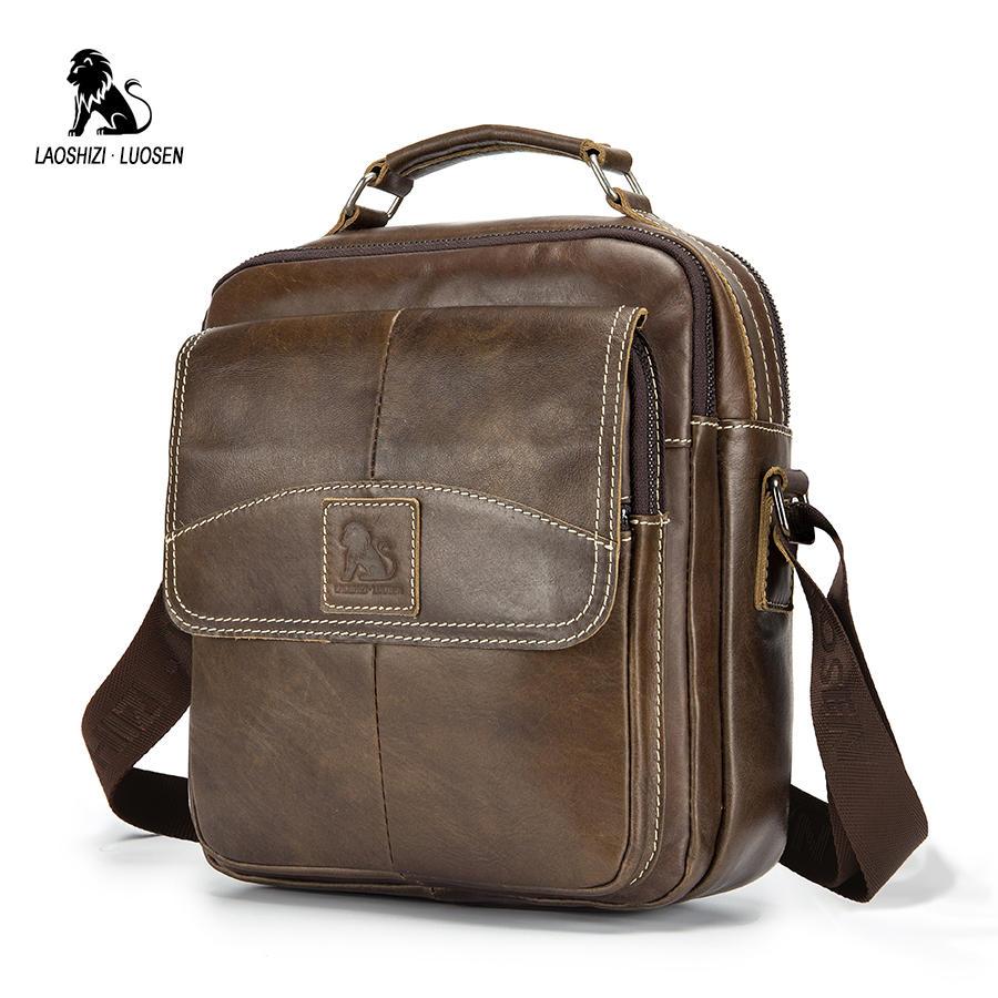 LAOSHIZI LUOSEN Genuine Leather Shoulder Bags For Men Messenger Bag Small Male Tote Vintage New Crossbody Bags Men's Handbag
