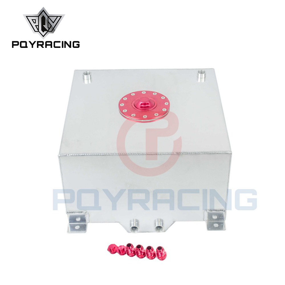 PQY - 15 GALLON/56.8L RACING ALUMINUM GAS FUEL CELL TANK WITH BILLET RED CAP FUEL SURGE TANK PQY-TK72 pqy racing 60l aluminium fuel surge tank with sensor fuel cell 60l with cap foam inside pqy tk41