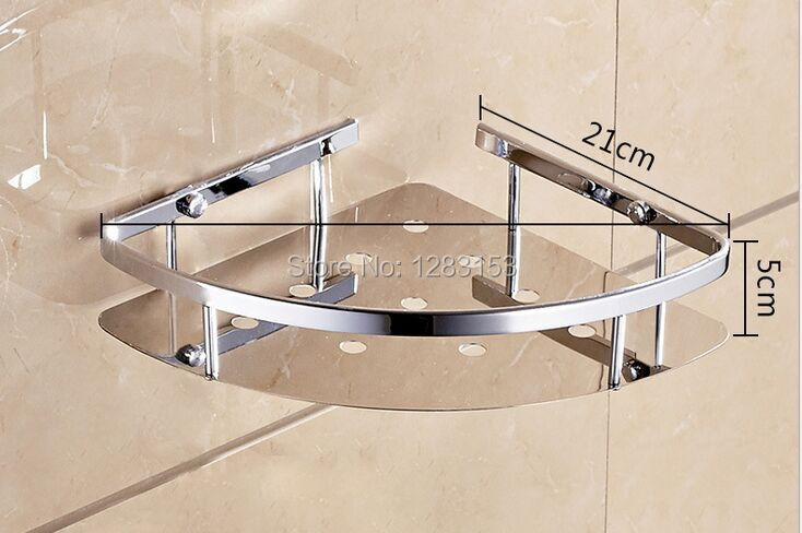 High Quality 304 Stainless Steel Bathroom Shelves Shower Basket Toilet Corner Storage Single
