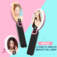 3 In 1 Cosmetic Mirror LED Selfie Fill Light With Phone Stand Clip RK16 Make