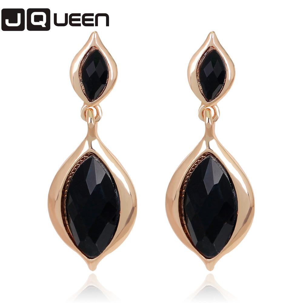2017 Bohemian Long Earrings Unique Leaf Shape Big Earrings For Women Black  Crystal Statement Earrings Fashion