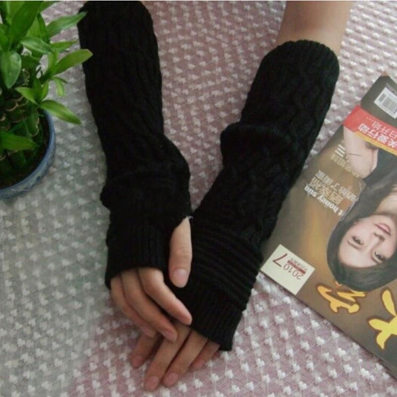 Fashion Women Long Elbow Gloves Knitted Fingerless Gloves Winter Warm Acrylic Knitting Mittens