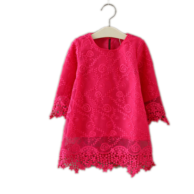 2017 New Spring Floral Red Lace Dress Baby Girl Casual Vestidos Top Brand Girls Dresses Kids Vintage Princess Party Costume 2-7T fashion toddler girls princess dress elegant floral bow vestidos for baby girl winter infant kids cotton lace dresses