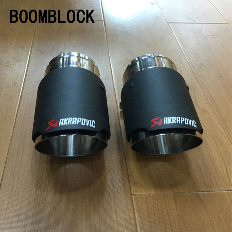 2pcs Car Styling Carbon Fiber Akrapovic Tip Car Exhaust Pipes For Range Rover Evoque Accessories