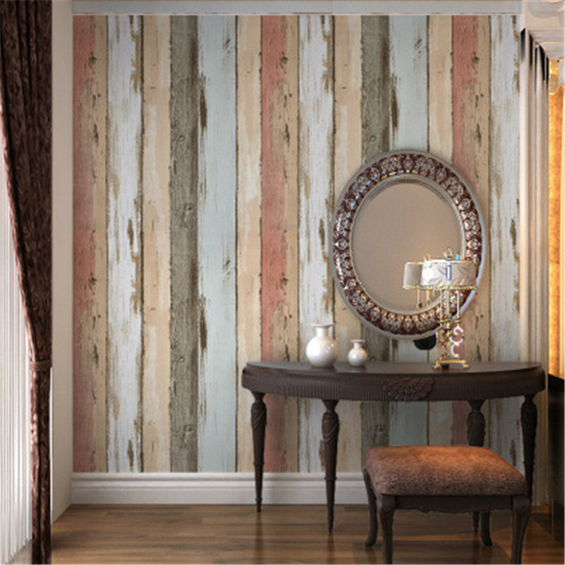 Thicken 3d Wallpaper Retro Nostalgic Color 3d Wooden Wall Murals for TV Background Study Room Kitchen Wall Decoration Wallpaper shinehome black white cartoon car frames photo wallpaper 3d for kids room roll livingroom background murals rolls wall paper