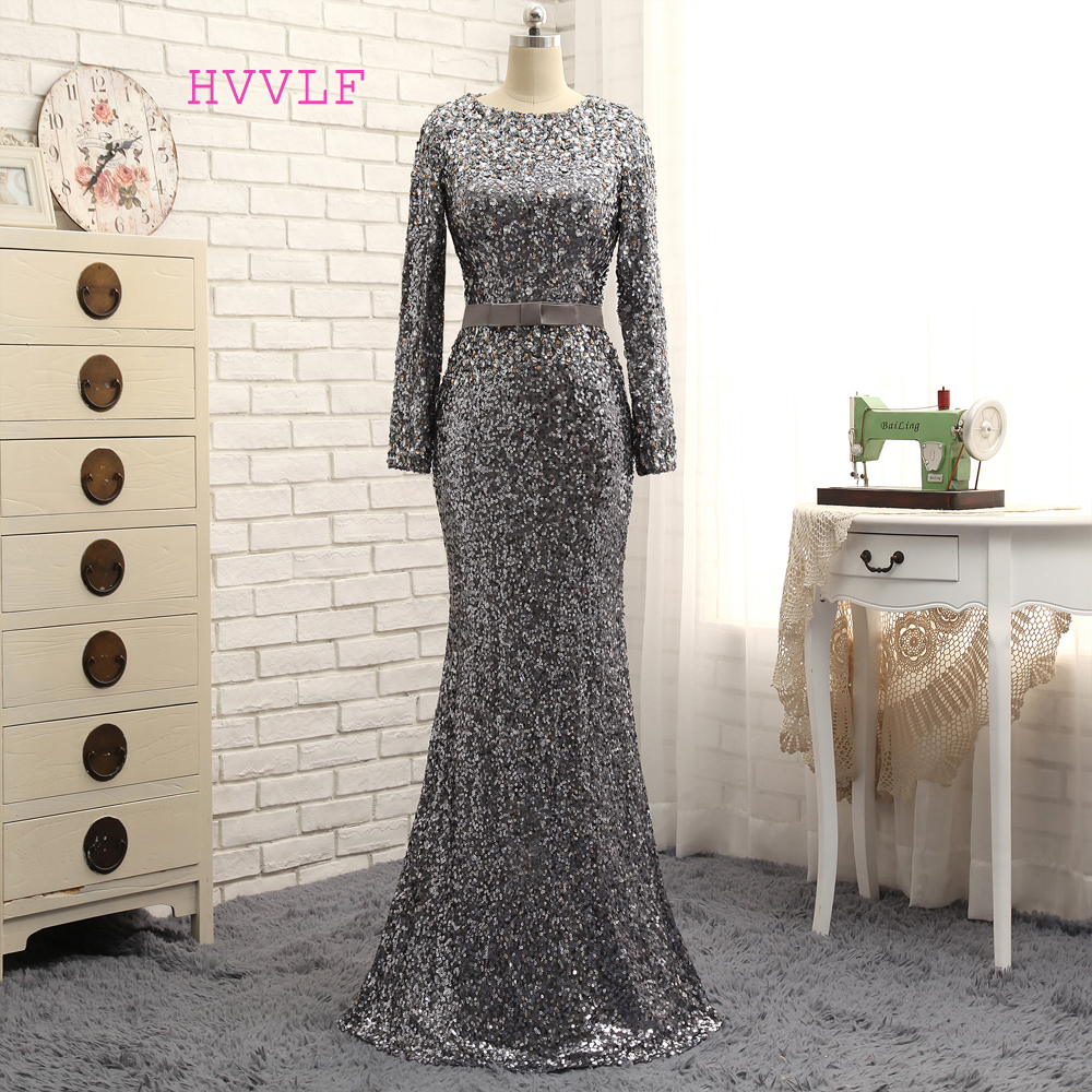 HVVLF Gray Evening Dresses 2019 Mermaid Long Sleeves Sequiens Crystals Sparkle Long Evening Gown Prom Dress Prom Gown