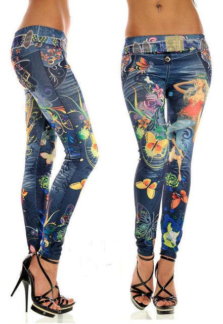 595d9319f29c4 Belarus girl butterfly print denim Leggings pencil pants denim pants feet  butterfly print pants