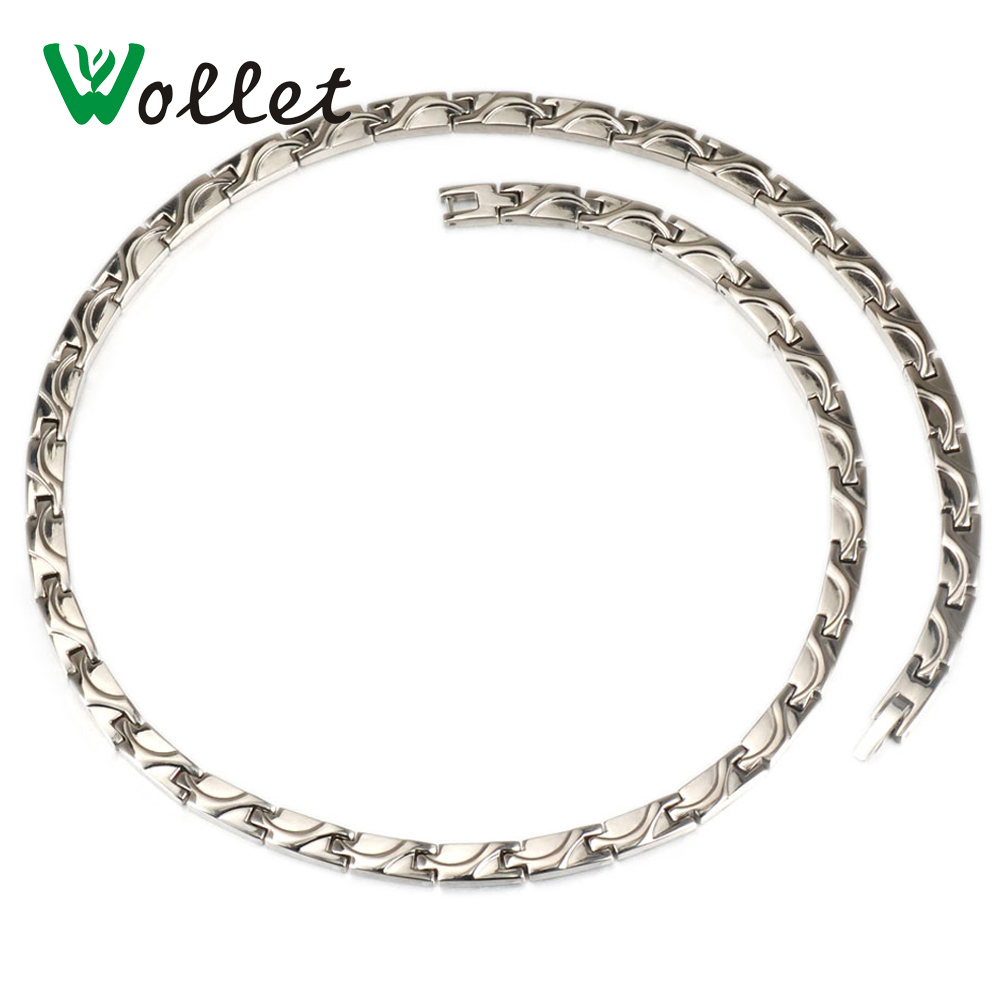 Wollet Jewelry Gold Color Health Energy Korean 5mm Titanium Negative Ion Infrared Germanium Necklace For Men Women
