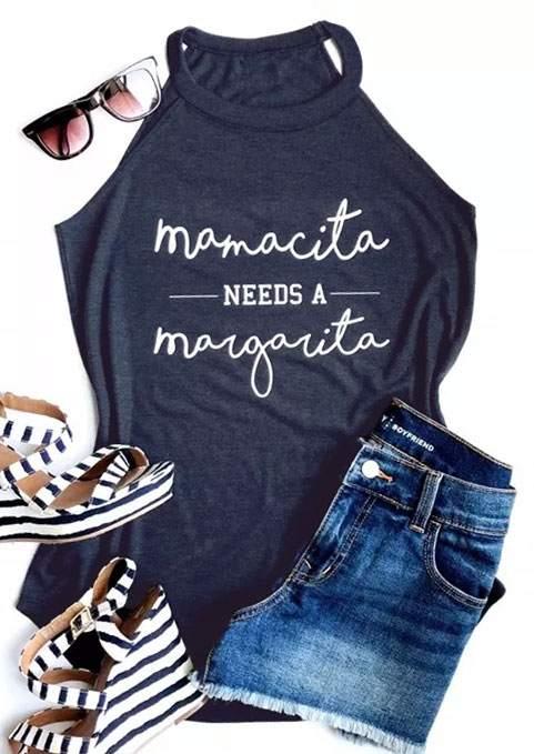 New Tank Tops Women Summer Sleeveless Mamacita mama Needs A Margarita Letter Print Tank 2018 Female Casual Vest Ladies Tops Tee