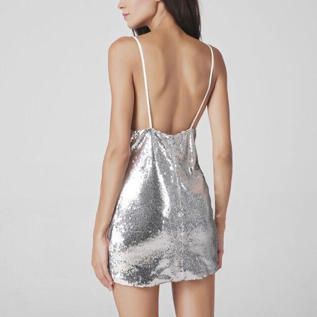 Silver Sequin Mini Dress Women Skinny Deep V-Neck Backless Sexy Club Dress  Party Slim NightClub Strapless Vestidos Plus Size XXL bd3ac344938e