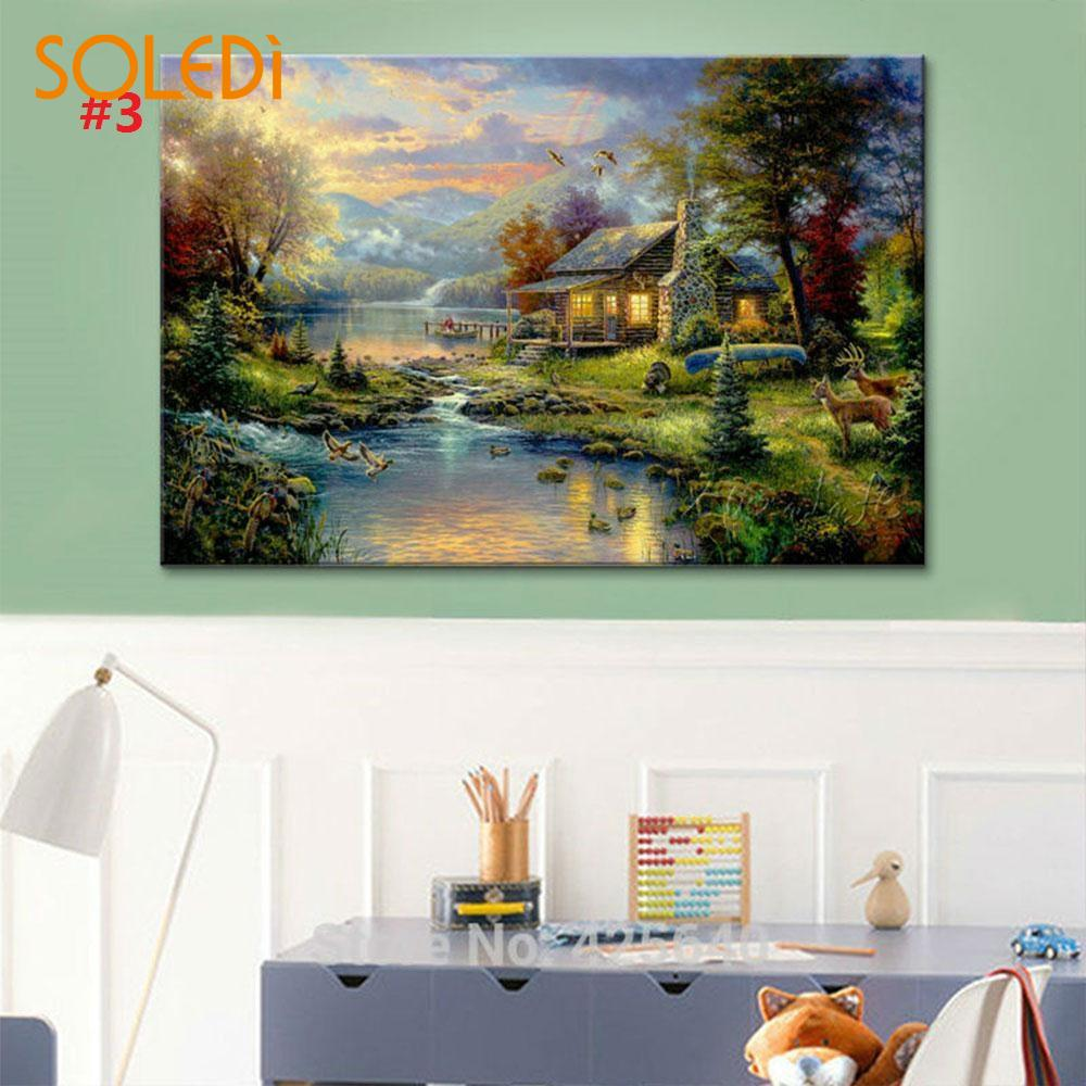 1pc Landscape Number Oil Painting Canvas Wall Background Art Mural Picture Decor Gifts Handmade Crafts Number Painting Kits Tool