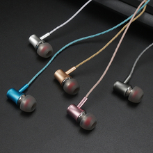 10PCS rose gold metal heavy headsets music headset intellect lin control wired earphone whit microphone for cell phone PC