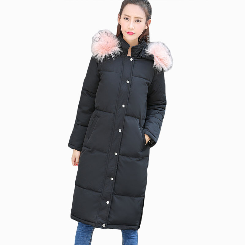 2017 NEW HOT WOMEN WINTER JACKER MID-LENGTH LARGE FUR COLLAR THICKEN WARM FEMALE PARKAS PADDEDE COTTON COAT HIGH QUALITY ZL658